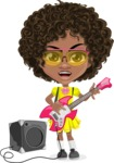 Cute Curly African American Girl Cartoon Vector Character AKA Alana - Music 4