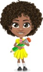 Cute Curly African American Girl Cartoon Vector Character AKA Alana - Pencil