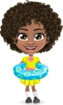 Cute Curly African American Girl Cartoon Vector Character AKA Alana - Beach 2