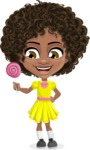 Cute Curly African American Girl Cartoon Vector Character AKA Alana - Candy