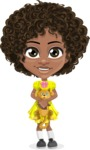 Cute Curly African American Girl Cartoon Vector Character AKA Alana - Kitty