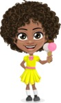 Cute Curly African American Girl Cartoon Vector Character AKA Alana - Ice Cream