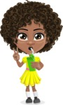 Cute Curly African American Girl Cartoon Vector Character AKA Alana - Shake