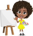 Cute Curly African American Girl Cartoon Vector Character AKA Alana - Painting