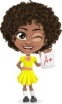 Cute Curly African American Girl Cartoon Vector Character AKA Alana - Score