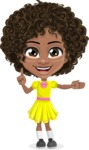 Cute Curly African American Girl Cartoon Vector Character AKA Alana - Show 1