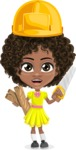 Cute Curly African American Girl Cartoon Vector Character AKA Alana - Under Construction