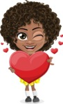 Cute Curly African American Girl Cartoon Vector Character AKA Alana - Love