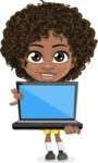 Cute Curly African American Girl Cartoon Vector Character AKA Alana - Laptop 1