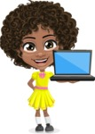 Cute Curly African American Girl Cartoon Vector Character AKA Alana - Laptop 2