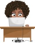 Cute Curly African American Girl Cartoon Vector Character AKA Alana - Laptop 3