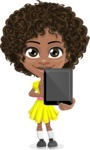 Cute Curly African American Girl Cartoon Vector Character AKA Alana - Tablet 1