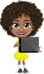 Cute Curly African American Girl Cartoon Vector Character AKA Alana - Tablet 2