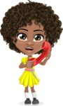 Cute Curly African American Girl Cartoon Vector Character AKA Alana - Homeline