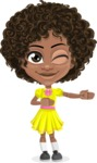 Cute Curly African American Girl Cartoon Vector Character AKA Alana - Show 2