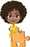 Cute Curly African American Girl Cartoon Vector Character AKA Alana - Puzzle