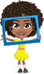 Cute Curly African American Girl Cartoon Vector Character AKA Alana - Frame