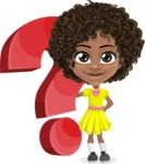 Cute Curly African American Girl Cartoon Vector Character AKA Alana - Question