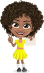 Cute Curly African American Girl Cartoon Vector Character AKA Alana - Sign 6
