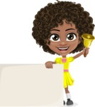 Cute Curly African American Girl Cartoon Vector Character AKA Alana - Sign 7