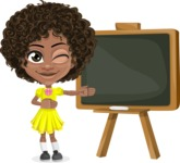 Cute Curly African American Girl Cartoon Vector Character AKA Alana - Presentation 1