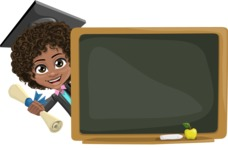 Cute Curly African American Girl Cartoon Vector Character AKA Alana - Presentation 3
