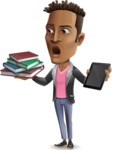 Young African American Man Cartoon Vector Character - Choosing between Book and Tablet