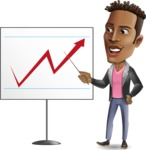 Young African American Man Cartoon Vector Character - Pointing on a Blank whiteboard