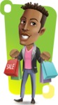 Young African American Man Cartoon Vector Character - Shape 12