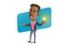 Young African American Man Cartoon Vector Character - Shape10