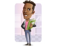 Young African American Man Cartoon Vector Character - Shape6