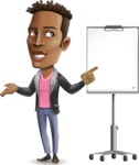 Young African American Man Cartoon Vector Character - with a Blank Presentation board