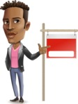 Young African American Man Cartoon Vector Character - with Blank Real estate sign