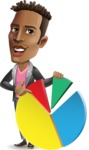Young African American Man Cartoon Vector Character - with Business graph