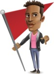 Young African American Man Cartoon Vector Character - with Flag