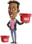 Young African American Man Cartoon Vector Character - with Sale boxes