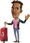 Young African American Man Cartoon Vector Character - with Suitcase