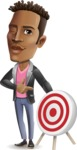 Young African American Man Cartoon Vector Character - with Target
