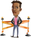 Young African American Man Cartoon Vector Character - with Under Construction sign