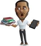 Handsome African American Man Cartoon Vector Character - Choosing between Book and Tablet