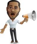 Handsome African American Man Cartoon Vector Character - Holding a Loudspeaker