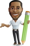 Handsome African American Man Cartoon Vector Character - Holding Pencil