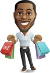 Handsome African American Man Cartoon Vector Character - Holding shopping bags