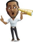 Handsome African American Man Cartoon Vector Character - Looking through telescope