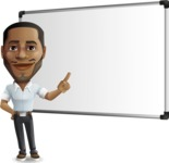 Handsome African American Man Cartoon Vector Character - Making a Presentation on a Blank white board
