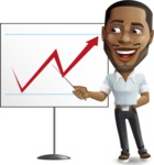 Handsome African American Man Cartoon Vector Character - Pointing on a Blank whiteboard