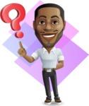 Handsome African American Man Cartoon Vector Character - Shape 11
