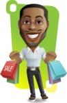 Handsome African American Man Cartoon Vector Character - Shape 12