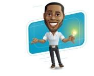Handsome African American Man Cartoon Vector Character - Shape10