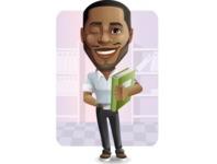 Handsome African American Man Cartoon Vector Character - Shape6